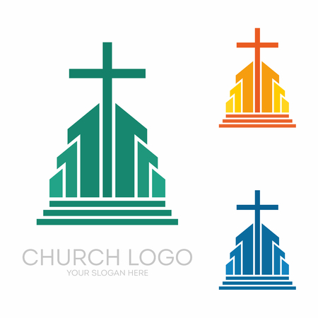 Christian symbols. Stylish cross of Jesus Christ among graphic vector elements.
