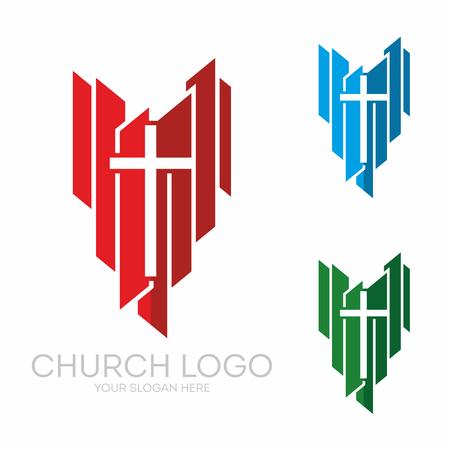Christliche Symbole. Stilvolle Kreuz von Jesus Christus unter Vektor-Grafik-Elemente.