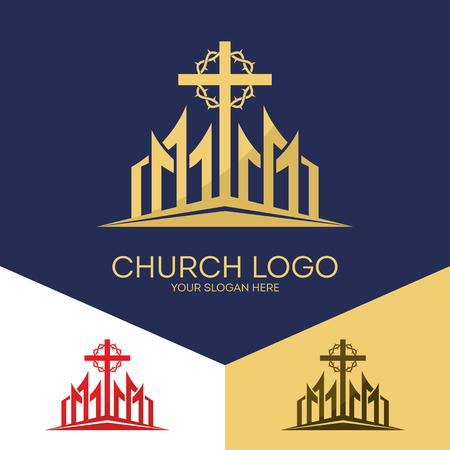 Christian symbols. The cross of Jesus and the Crown of Thorns.