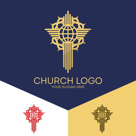 Christian symbols. The cross of Jesus, globe and a crown of thorns.