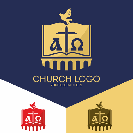 creador: Christian symbols. The Bible, the cross of Jesus, the Creator of the earth, alpha and omega. Vectores