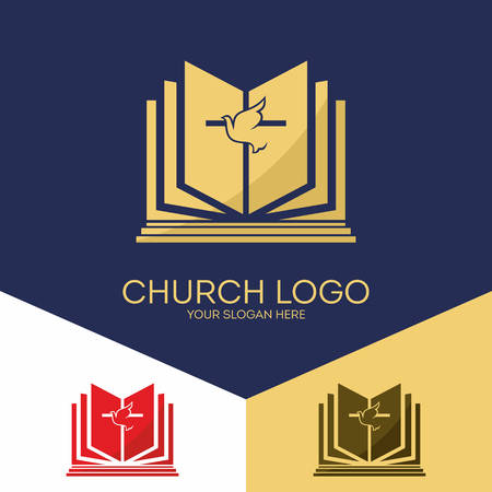 Christian symbols. The Bible, the cross of Jesus, the Holy Spirit.