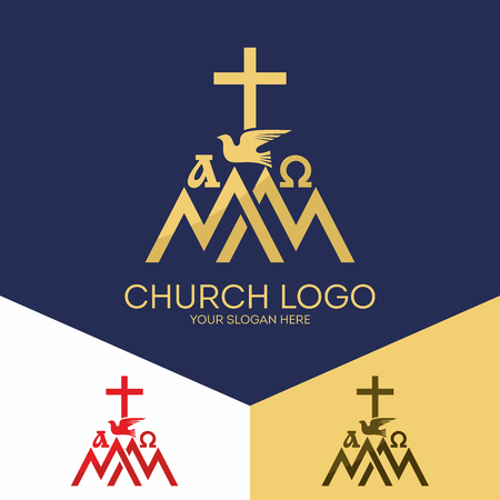 Christian symbols. Mount Zion, the alpha and omega, the cross of Jesus Christ.