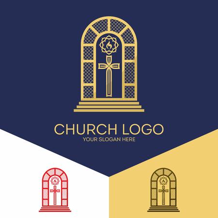 Symboles chrétiens. Vitrail, la croix de Jésus, couronne d'épines et une colombe - un symbole du Saint-Esprit. Banque d'images - 63839274