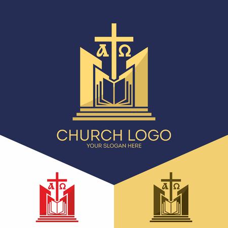 Christian symbols. The Bible, the cross of Jesus, the Creator of the earth, alpha and omega. Ilustração