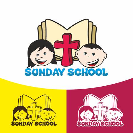 Sunday school. Christian symbols. The Church of Jesus Christ. Illusztráció