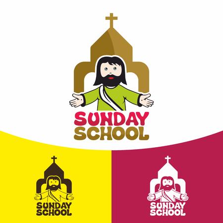 Sunday school. Christian symbols. The Church of Jesus Christ. Ilustrace