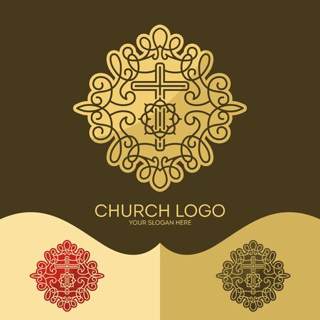 crown logo: Church logo. Christian symbols. The cross of Jesus and the Crown of Thorns, elegant patterns.