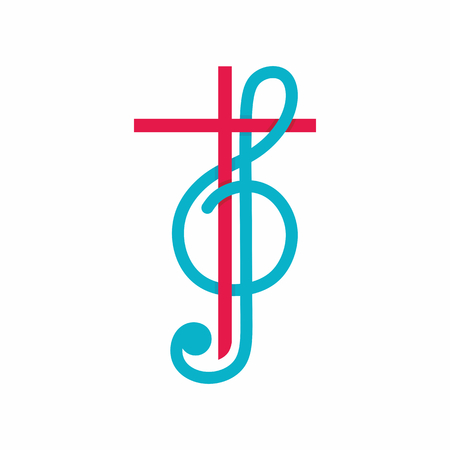 worship praise: Church logo. Christian symbols. The cross of Jesus Christ and treble clef as a symbol of praise and worship to God.