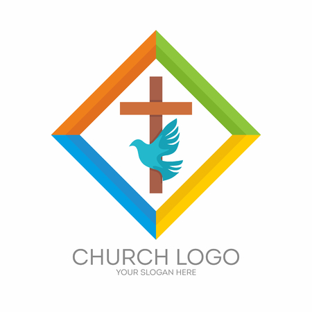 Church logo. Christian symbols. The Cross of Jesus, the Holy Spirit - Dove. 版權商用圖片 - 68284091
