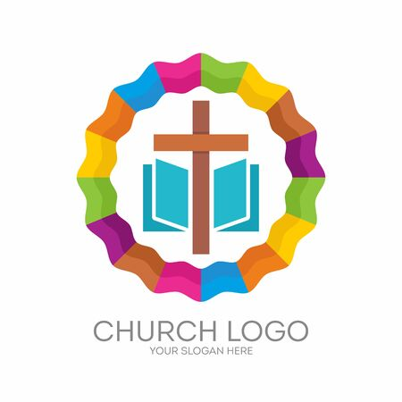 Church logo. Christian symbols. The Cross of Jesus, the Bible - Gods Holy word Illustration