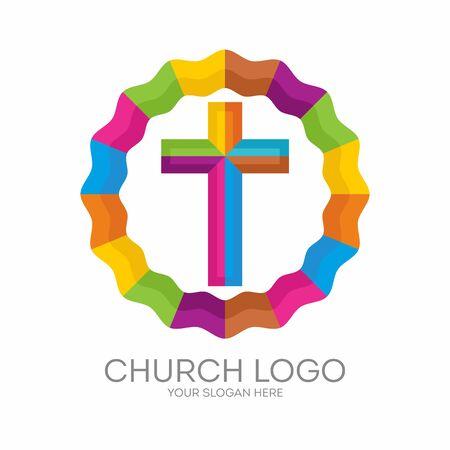 Church logo. Christian symbols. The cross of Jesus Çizim
