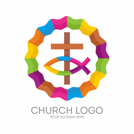 Church logo. Christian symbols. The cross of Jesus and the Christian sign of the fish