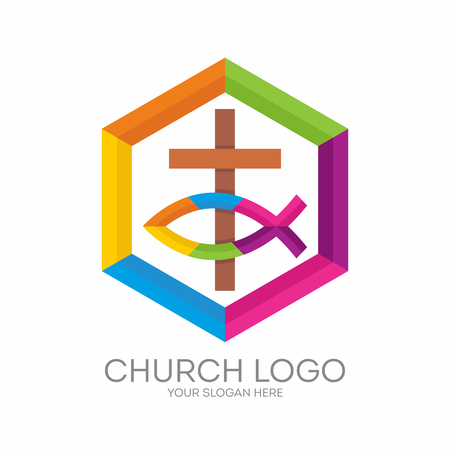 gospel: Church logo. Christian symbols. The cross of Jesus and the Christian sign of the fish