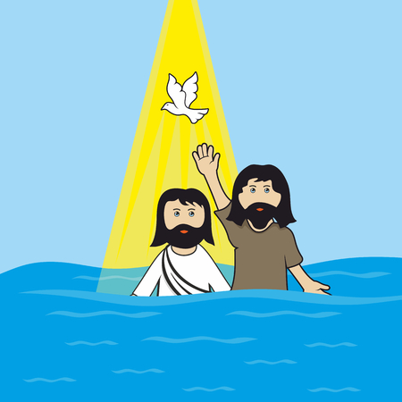 Biblical illustration. John the Baptist baptizing Jesus Christ.