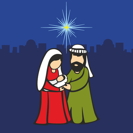 Christmas scene. Mary and Joseph with the baby Jesus. Against the backdrop of Bethlehem and the star.
