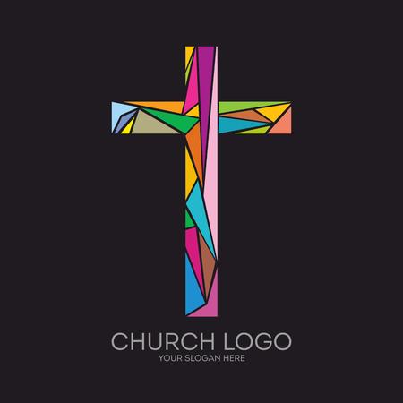 Kirchenlogo. Christliche Symbole. Das Kreuz von Jesus Christus von farbigen Elementen.