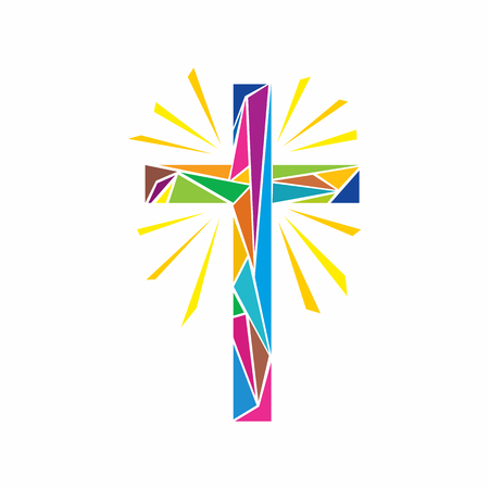 Church logo. Christian symbols. The Cross of Jesus Christ made up of multi-colored elements, shine rays. Ilustração