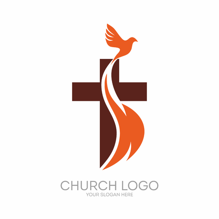 Church logo. Christian symbols. The Cross of Jesus, the fire of the Holy Spirit and the dove.