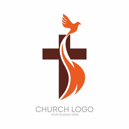 iglesia: logotipo de la iglesia. símbolos cristianos. La cruz de Jesús, el fuego del Espíritu Santo y la paloma. Vectores
