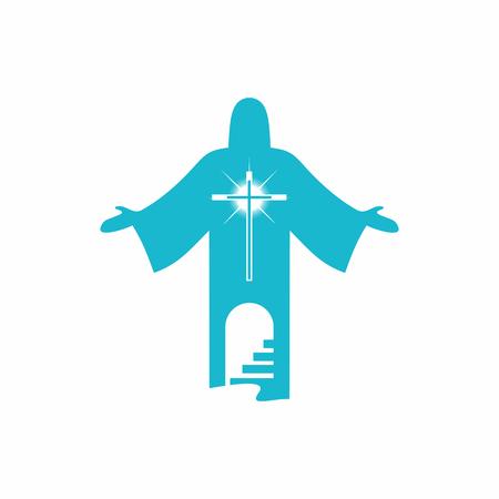 De weg naar de hemel alleen door het kruis van Jezus Christus. Trap naar de hemel.