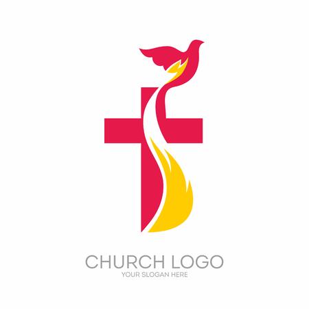 Kirchenlogo. Christliche Symbole. Das Kreuz von Jesus, das Feuer des Heiligen Geistes und die Taube. Logo