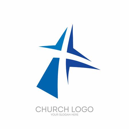 교회 로고. 기독교 기호입니다. 예수 그리스도의 십자가. 스톡 콘텐츠 - 65715343