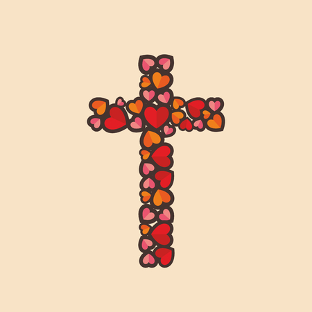 laid: The cross of Jesus Christ, is laid decorative hearts.