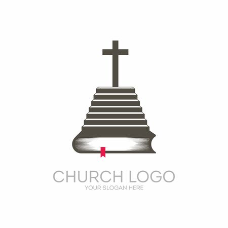 Church logo. Christian symbols. Bible Scripture - is a staircase leading to the knowledge of the Lord and Savior Jesus Christ. Иллюстрация