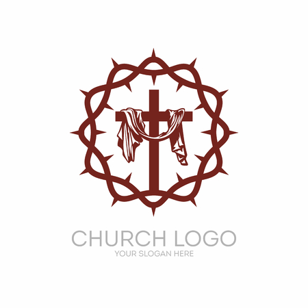 Church logo. Christian symbols. Crown of Thorns Savior Jesus Christ and the cross at Calvary.