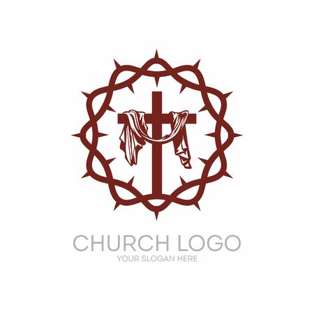 Church logo. Christian symbols. Crown of Thorns Savior Jesus Christ and the cross at Calvary.