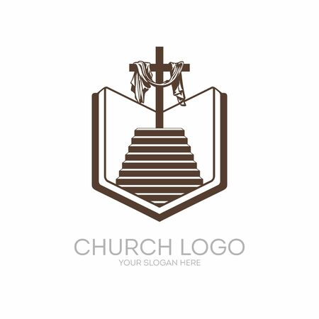 calvary: Church logo. Christian symbols. Bible, Holy Scripture, the staircase leading to the Lord and Savior Jesus Christ, on the cross at Calvary.