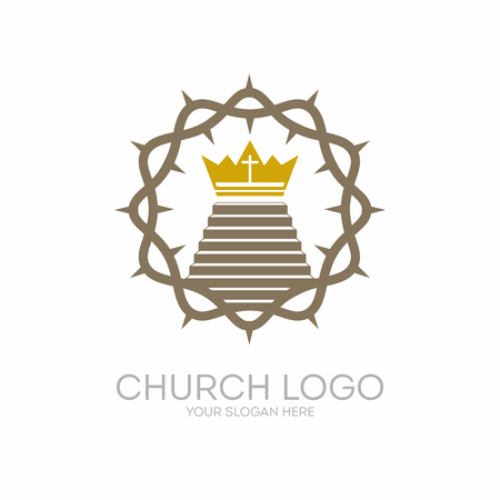 Church logo. Christian symbols. The crown of thorns Jesus Christ the Savior and the staircase leading to the royal crown.
