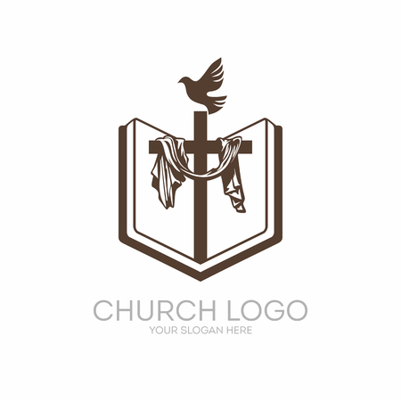 Church logo. Christian symbols. Bible, Holy Scripture, the cross of Jesus Christ and the Holy Spirit as a dove. Ilustracja