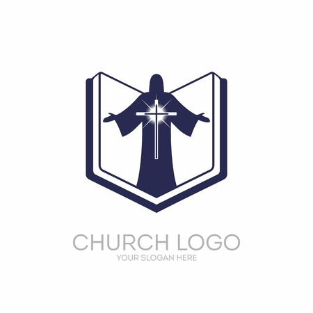 Church logo. Christian symbols. The Bible, the Scriptures, Jesus Christ and the Savior glowing cross.  イラスト・ベクター素材