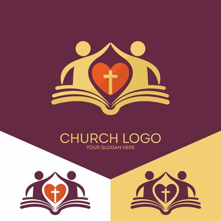 Church logo. Christian symbols. The church is based on the biblical basis and love the Lord Jesus Christ
