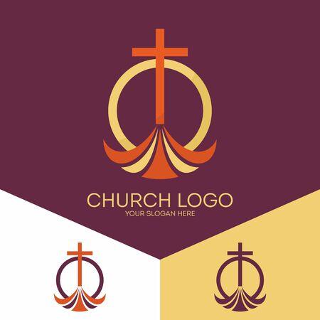 Kirchenlogo Christliche Symbole. Das Kreuz von Jesus Christus, die Anbetung Gottes allein