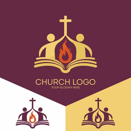 Church logo. Christian symbols. The church is based on the biblical basis and the flame of the Holy Spirit, the worship of God. Иллюстрация