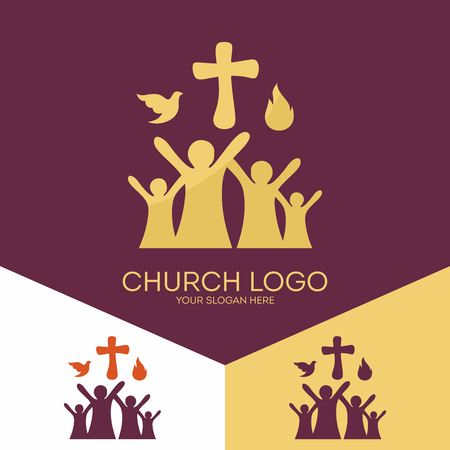 pray: Church logo. Christian symbols. Church of God, faithful to the Lord Jesus Christ. Çizim
