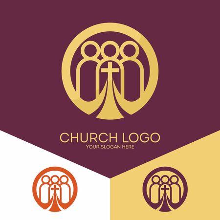 Kerk logo. Christelijke symbolen. Kerk van God, trouw aan de Heer Jezus Christus. Logo