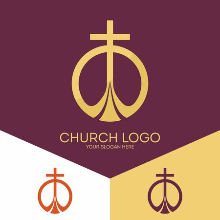 worship god: Church logo. Christian symbols. The cross of Jesus Christ, the worship of God alone.