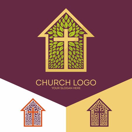 Church logo. Christian symbols. The cross of Jesus Christ and the church blooming Vettoriali