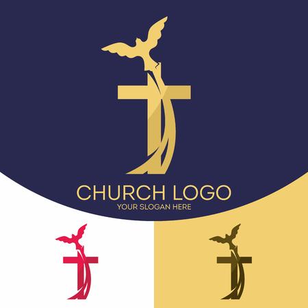 encouraging: Church logo. Christian symbols. Silhouette of the cross of Jesus Christ, the dove, the Holy Spirit.