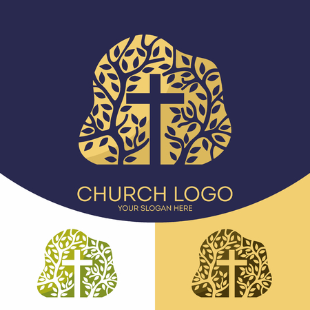 encouraging: Church logo. Christian symbols. The cross of Jesus Christ and the tree as a symbol of the spiritual growth of the church.