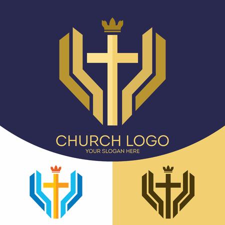 kingdom of god: Church logo. Christian symbols. The cross of Jesus Christ and the crown - a symbol of the kingdom of God. Illustration
