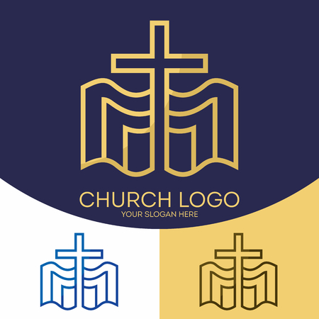 encouraging: Church logo. Christian symbols. The cross of Jesus Christ and the Holy Bible.