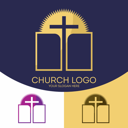 Church logo. Christian symbols. Holy Scripture, the Bible, the cross of Jesus Christ and the sun.