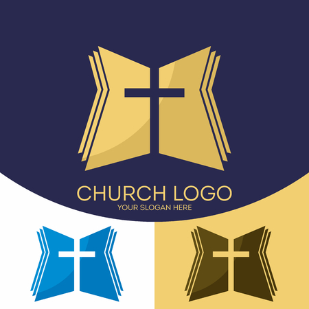 Church logo. Christian symbols. The cross of Jesus Christ and the Holy Bible.