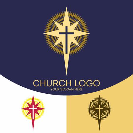 Church logo. Christian symbols. The cross of Jesus Christ and the Star of Bethlehem. Illustration