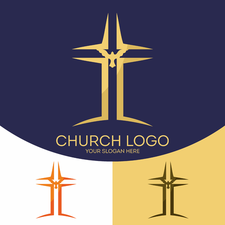 the christian religion: Church logo. Christian symbols. The cross of Jesus Christ, the Bible and the Holy Spirit, the dove. Illustration